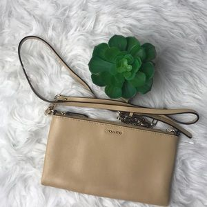Coach Light Tan Crossbody One Zip Purse